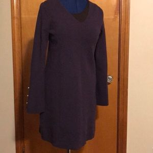 Purple knit dress with pearl sleeve accent buttons